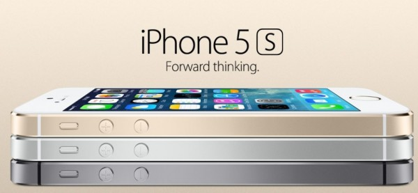 iPhone 5S in gold (pictured on the top)