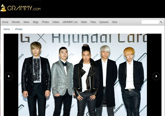Big Bang Appears on Grammy's Homepage Again