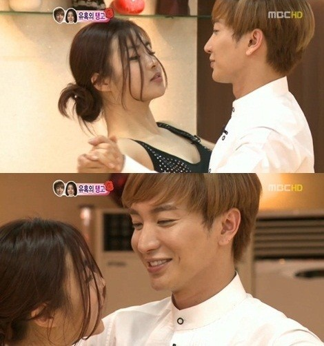 """We Got Married"" Leeteuk & Kang Sora, Nervous Kissing Performance"
