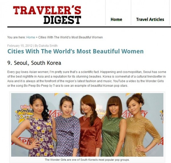 "Travelers Digest: Seoul Ranks as 9th ""City with the Most Beautiful Women in the World"""