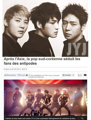 French Influential Media Writes About JYJ Popularity In Latin America