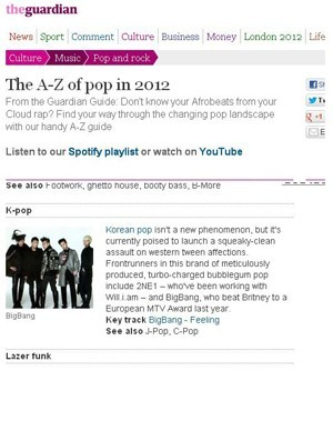 Big Bang's song 'Feeling' chosen in Britain's Guardian, 'This Year's POP'  Top 25