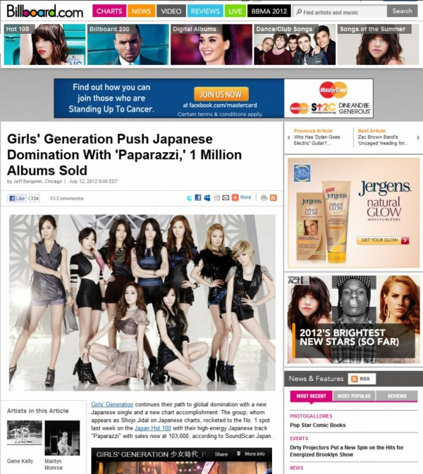 "Billboard Covers Girls' Generation's Japanese Single ""PAPARAZZI"" Success"