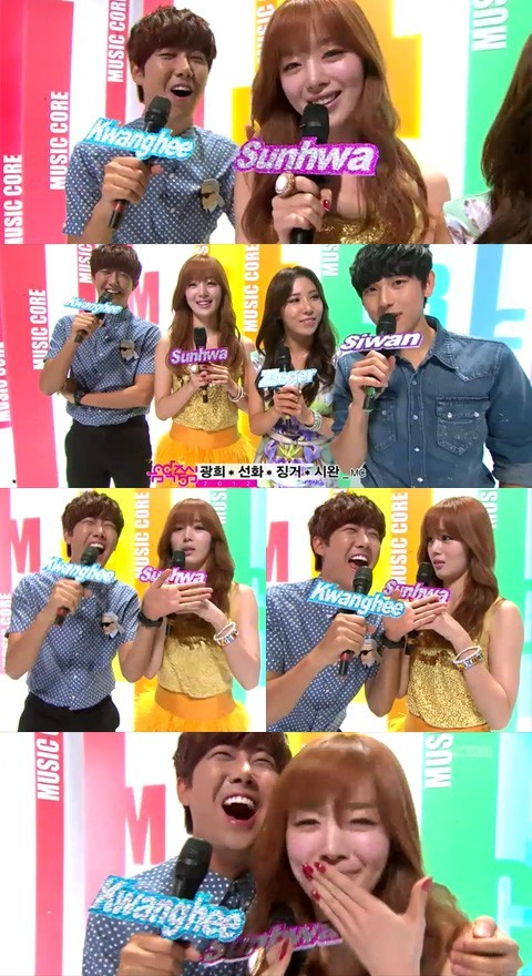 Kwanghee and Sunhwa appeared on 'Music Core' as the special MCs.