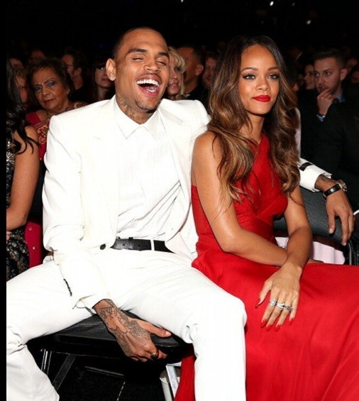 Rihanna and Chris Brown at the 2013 Grammy Awards