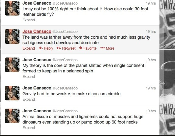 Jose Canseco's tweets (shown here) express the baseball player's odd thoughts on gravity, as he explains his take on science to his nearly half-a-million Twitter followers.