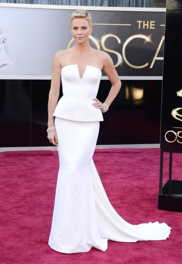 Charlize Theron Amazing in White Dior Dress on Red Carpet