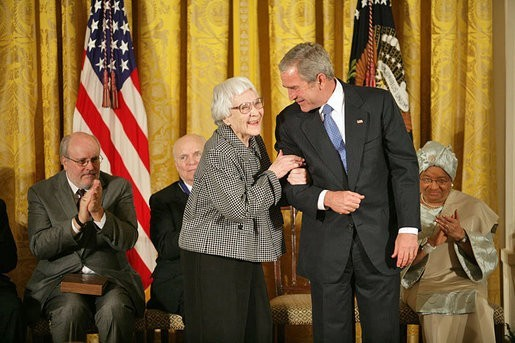 Harper Lee receiving the Presidential Medal of Freedom from George W. Bush in 2007