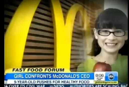 Hannah Robertson asked McDonald CEO about healthy eating.