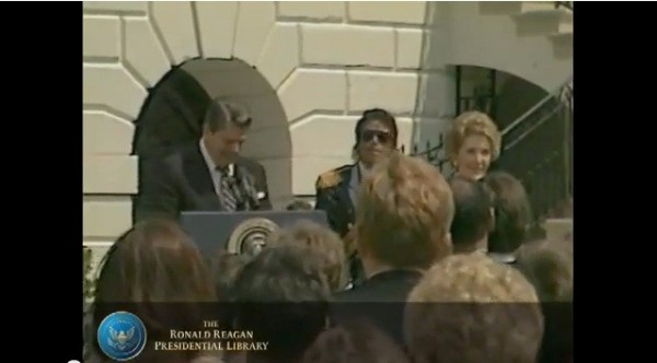 President Ronald Reagan gives Michael Jackson Award